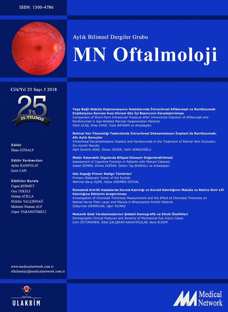<div>Oftalmoloji Cilt: 25 Sayı: 3 2018 (MN Ophthalmology Volume: 25 No 3 2018)</div>