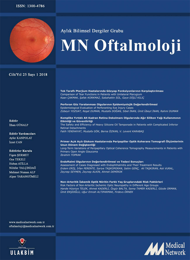 <div>Oftalmoloji Cilt: 25 Sayı: 1 2018&nbsp;(MN Ophthalmology Volume: 25 No 1 2018)</div>