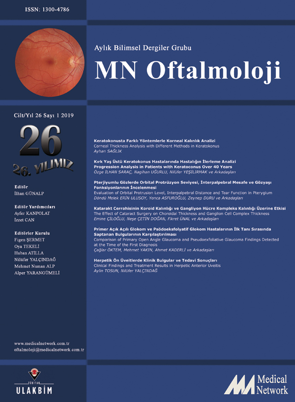 <p>Oftalmoloji Cilt: 26 Sayı: 1 2019 (MN Ophthalmology Volume: 26 No 1 2019)</p>