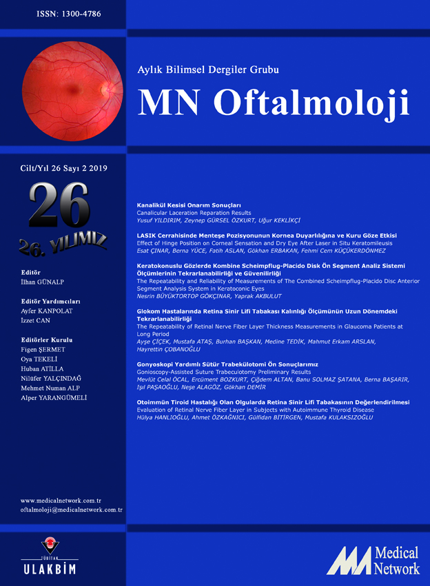 <p>MN Oftalmoloji Cilt: 26 Sayı: 2 2019 (MN Ophthalmology Volume: 26 No 2 2019)</p>